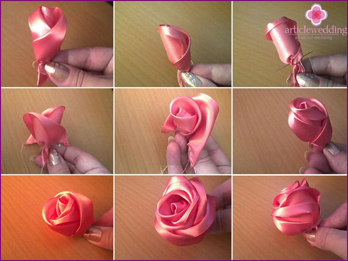 Satin rose for the bride's bouquet