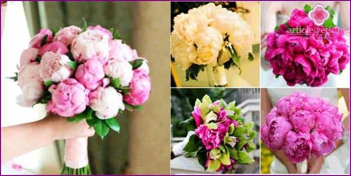 Bright wedding bouquet: peonies