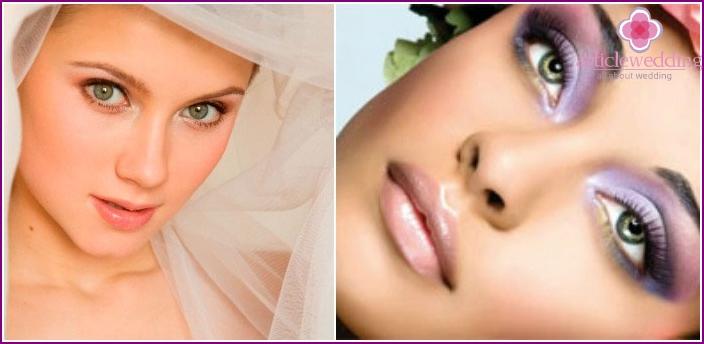 Make-up für eine Hochzeit für grüne Augen