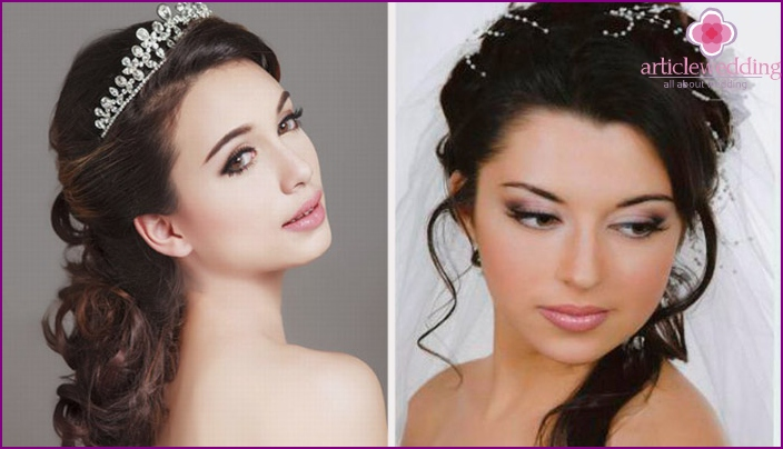 Wedding makeup for brown-eyed brunettes