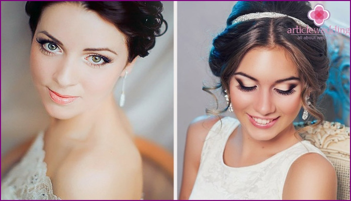 Wedding makeup for green-eyed brunettes