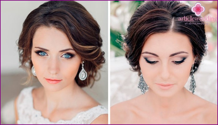 Wedding makeup with light lipstick for brunettes