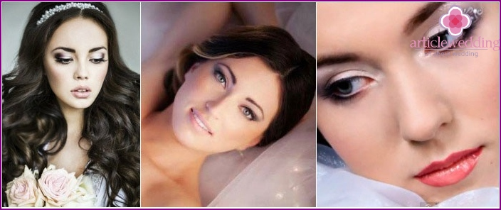 Wedding makeup: photo for fair-skinned brunettes