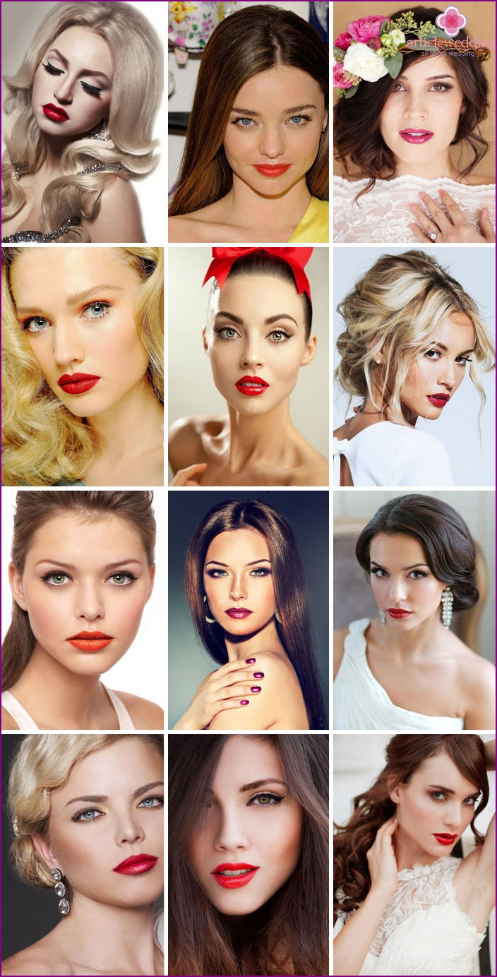 Makeup brides with emphasis on lips