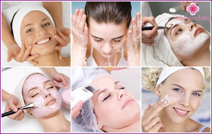 Face cleansing before applying bridal makeup