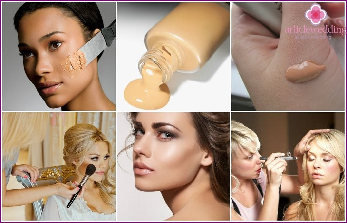 Selection of foundation for the bride