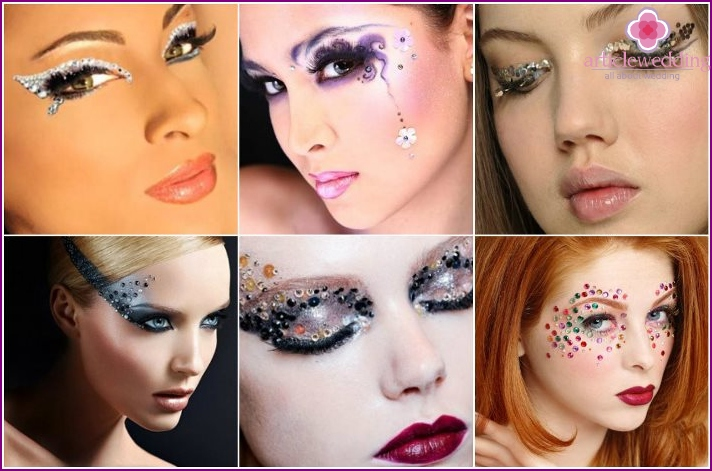 Small rhinestones on the face for a wedding make-up
