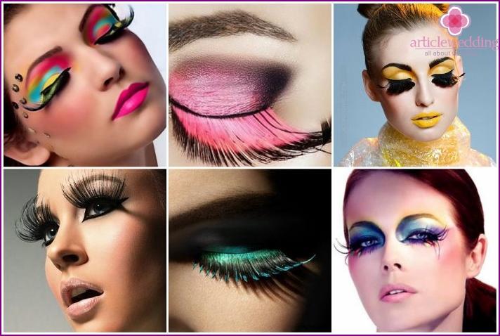 Lange falsche Wimpern machen das Make-up eleganter