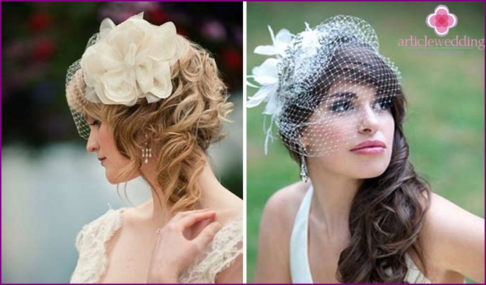 Wedding hairstyle with curls and a veil