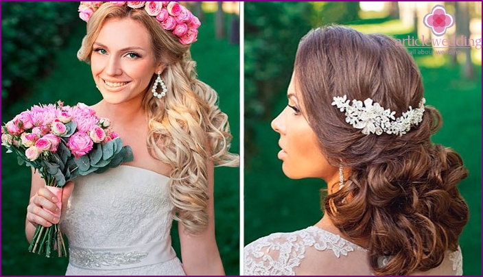 Flowers and tiaras for the look