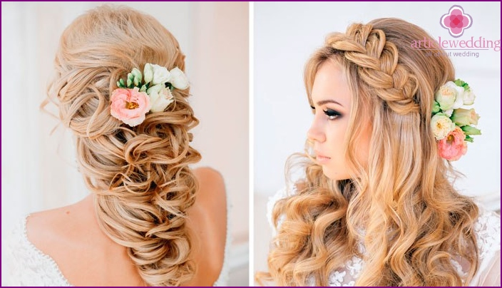 Fresh flowers in a hairstyle