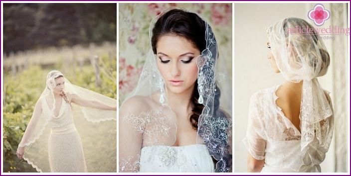 Schleier Mantilla für langhaarige Braut