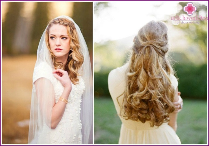 Wedding styling of long hair with interlocking strands and pigtails
