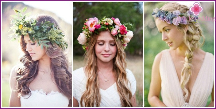 The image of a long-haired bride: a floral wreath instead of a veil