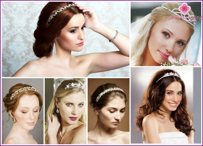 We decorate the bride's long hair with a diadem