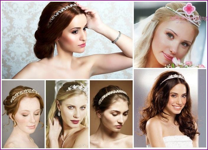 Wir schmücken die langen Haare der Braut mit einem Diadem