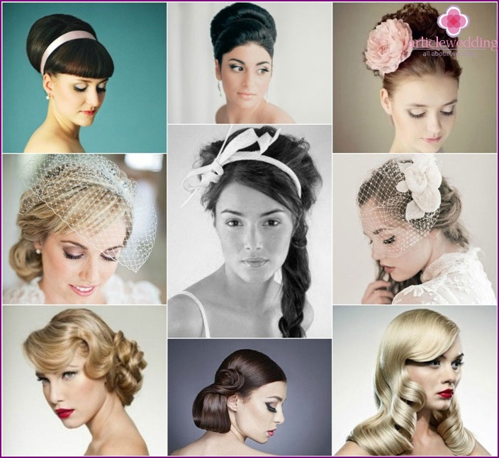 Foto: Retro Hochzeitsfrisuren für langes Haar