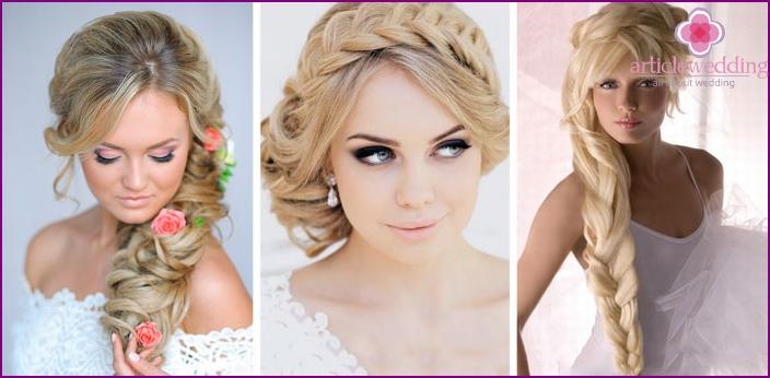 Zöpfe für Blondinen für eine Hochzeit