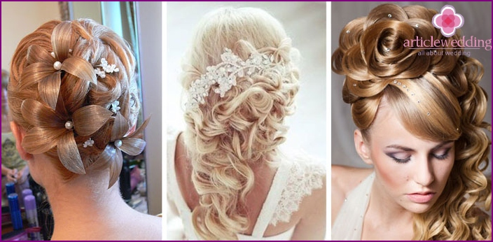 Anspruchsvolle Hochzeitsfrisuren für Blondinen