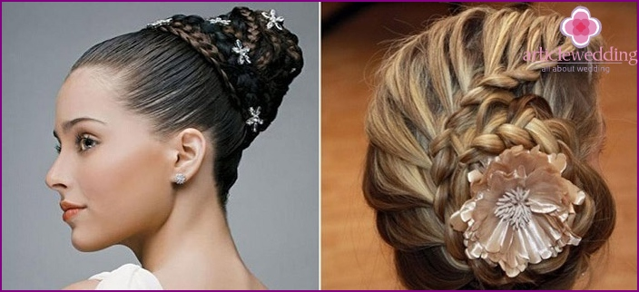 Wedding hairstyles: wrapped braid and snail