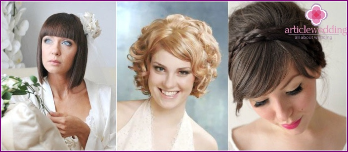 Wedding hairstyles with bangs for short-haired brides