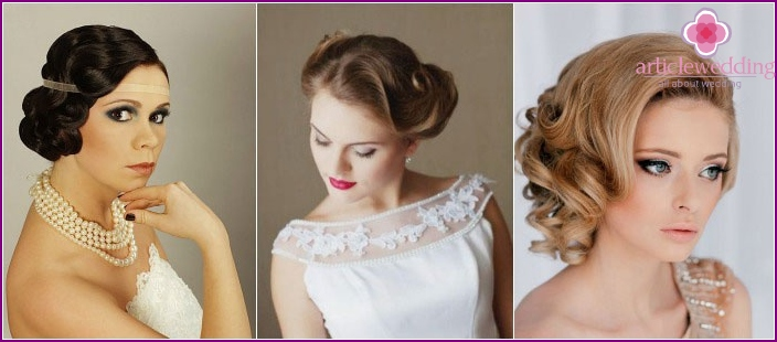 Short bridal hairstyle: elegant retro waves