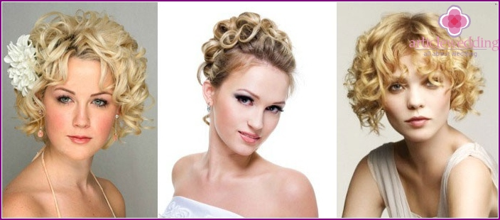 Wedding hairstyles: curl on short hair