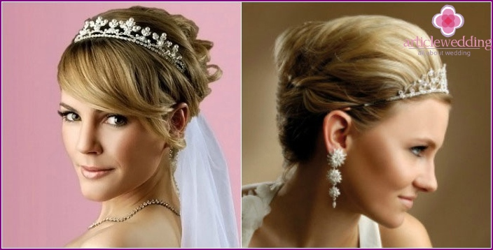 Diadem - the basis of short styling wedding