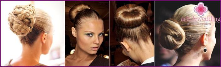 Bun-gulka from braids for a wedding hairstyle