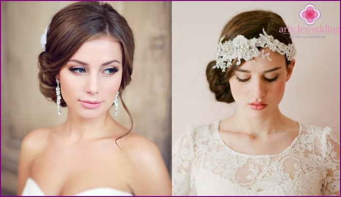 Asymmetric wedding styling for a full face