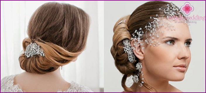 Bride hair collected on the back of the head