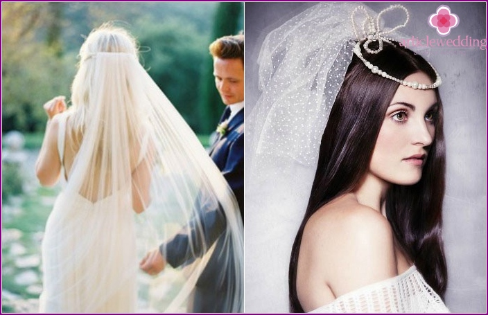The image of the bride: long straight hair and a veil