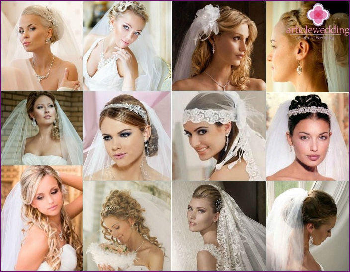 Wedding look 2016: hairstyle options with a veil for long hair