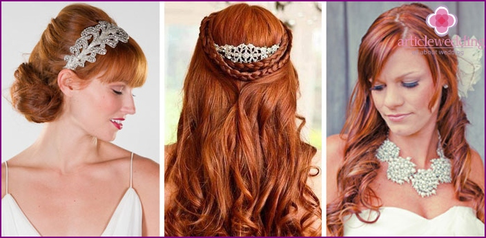 Wedding hairstyles for red-haired girls