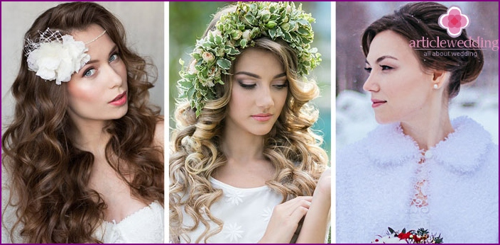 Hairstyles for a wedding under the season