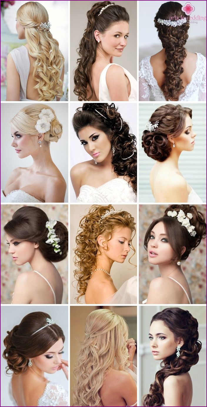 Photos of successful wedding hairstyles