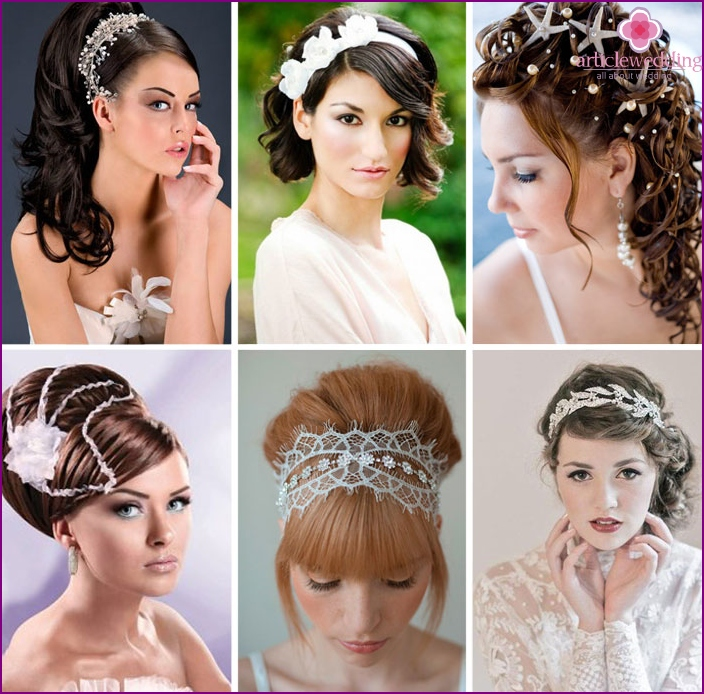 Wedding decorations in the hair of the bride