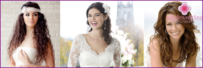A bride with a round face fit loose hair