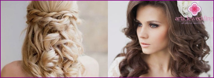 Hairstyle with loose curls for a wedding