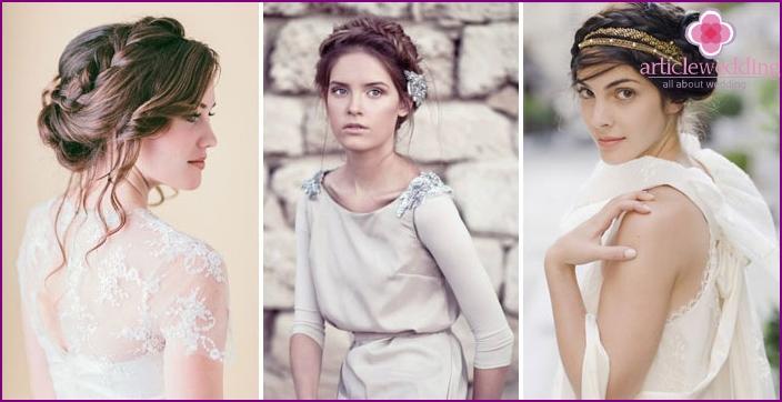 Griechische Zöpfe, um ein modernes Bild der Braut zu schaffen