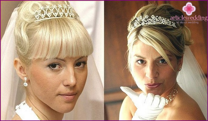 Hairstyle with veil and diadem