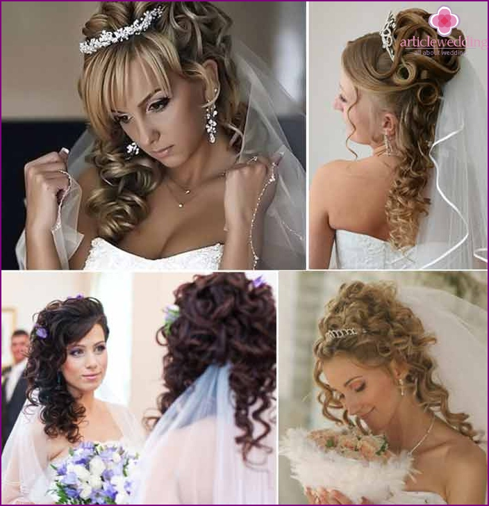 High wedding hairstyles with false curls
