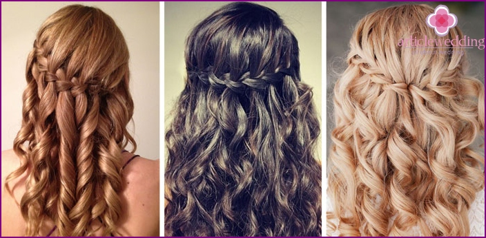 Wedding hairstyle french waterfall