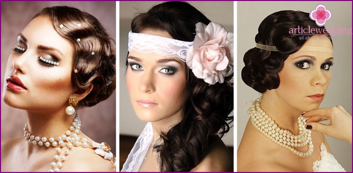 Hairstyles with curls for a retro wedding
