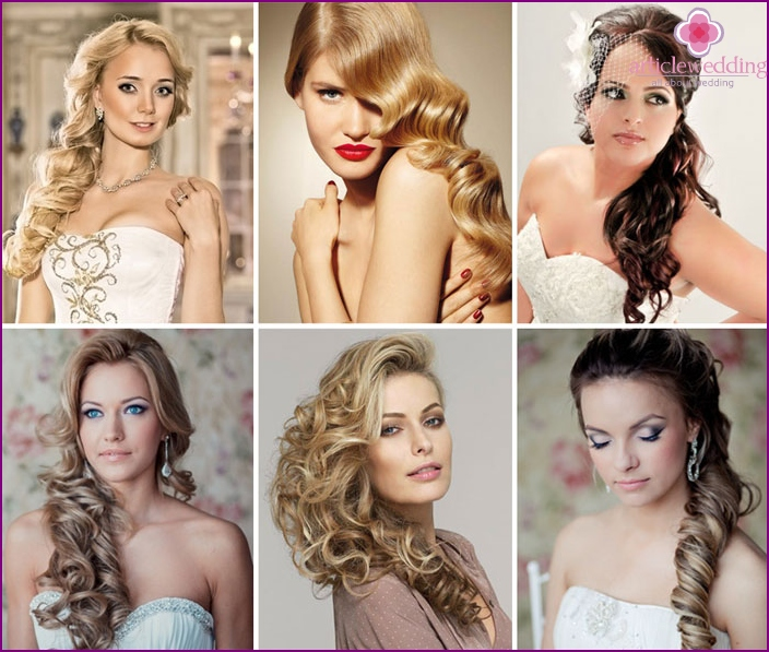 Wedding hairstyle: curls on the side
