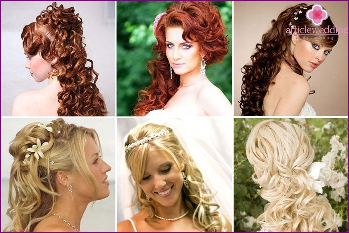Volumetric curls at the back for wedding styling