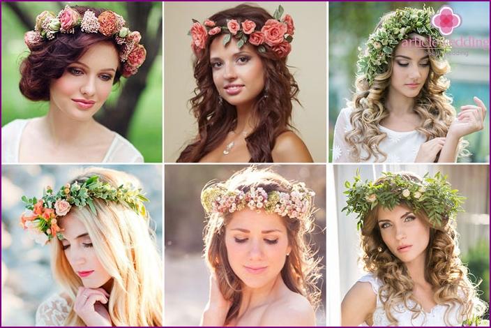 Folk style wedding hairstyle without veil