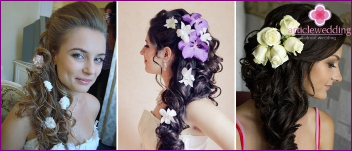 Wedding curls with flowers