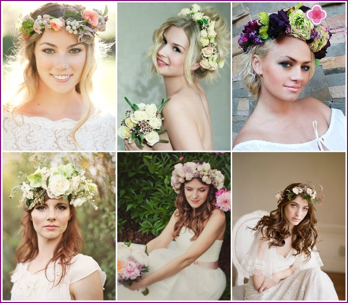 Flower and berry wedding crown
