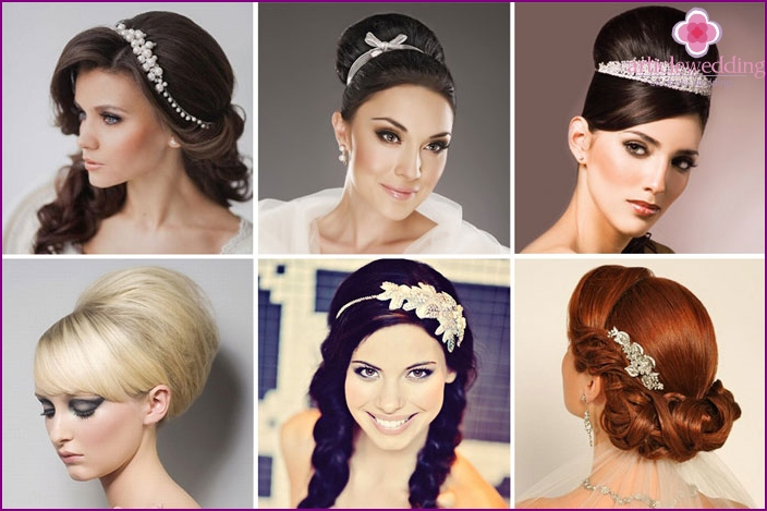Simple hairstyles with a roller for a wedding